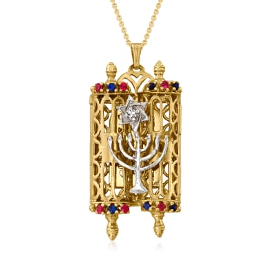 C. 1980 Vintage .40 ct. t.w. Synthetic Sapphire and Synthetic Ruby Hebrew Symbols Pendant Necklace in 14kt Yellow Gold