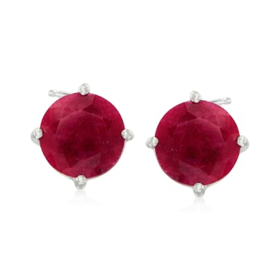 4.00 ct. t.w. Ruby Stud Earrings in Sterling Silver