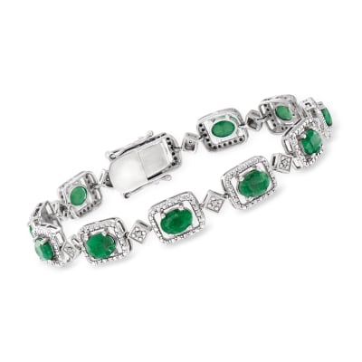7.50 ct. t.w. Emerald and .15 ct. t.w. Diamond Bracelet in Sterling Silver