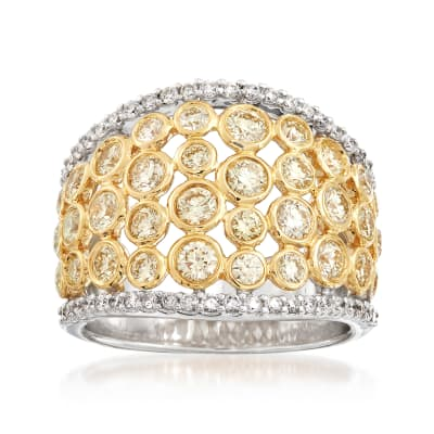 2.00 ct. t.w. Bezel-Set Yellow and White Diamond Ring in 14kt White and 18kt Yellow Gold