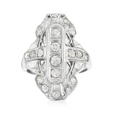 C. 1920 Vintage 1.05 ct. t.w. Diamond Dinner Ring in 18kt White Gold