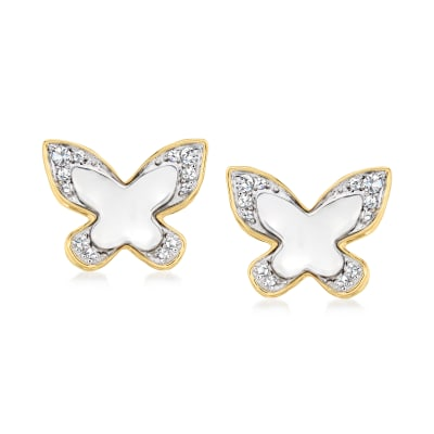 Diamond-Accented Butterfly Earrings in Platinum and 14kt Yellow Gold