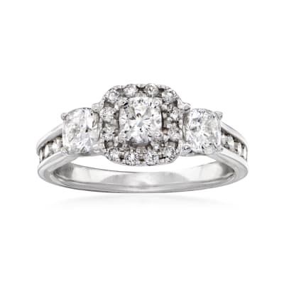 C. 1990 Vintage 1.50 ct. t.w. Diamond Three-Stone Ring in 14kt White Gold