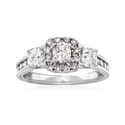 C. 1990 Vintage 1.50 ct. t.w. Diamond Three-Stone Ring in 14kt White Gold