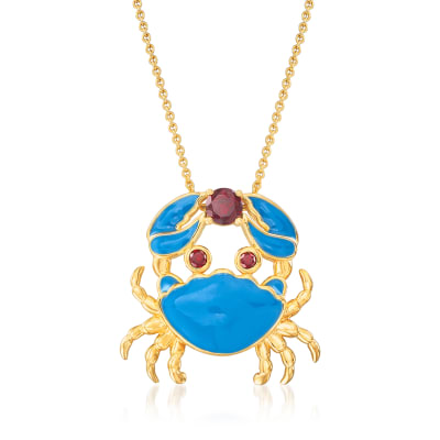 .40 Carat Garnet and Blue Enamel Crab Necklace in 18kt Gold Over Sterling