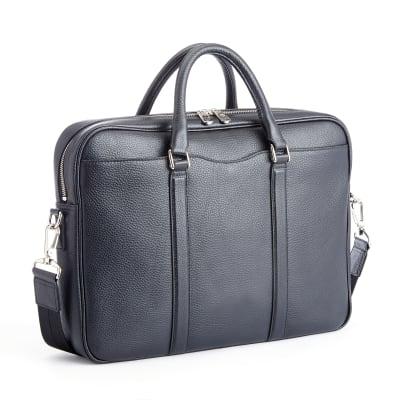 "Royce ""Executive Office"" Black Leather Laptop Messenger Bag"