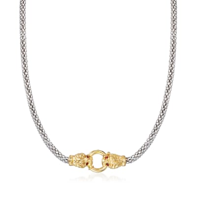 18kt Gold Over Sterling and Sterling Silver Double Lion Head Necklace