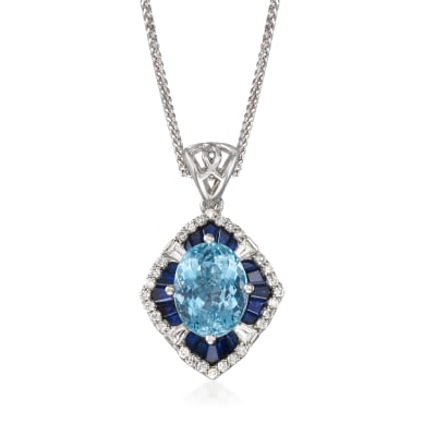 2.40 Carat Aquamarine and 2.60 ct. t.w. Blue and White Sapphire Pendant Necklace with .22 ct. t.w. Diamond in 14kt White Gold