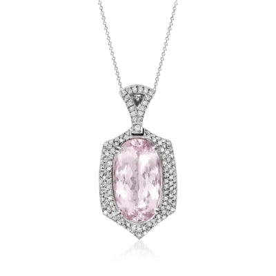 C. 1980 Vintage 26.00 Carat Pink Topaz and 1.55 ct. t.w. Diamond Pendant Necklace in 18kt White Gold