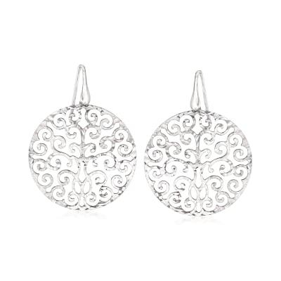 Italian Sterling Silver Cut-Out Filigree Disc Drop Earrings
