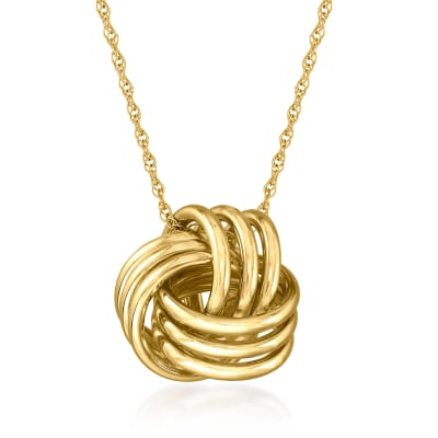 14kt Yellow Gold Love Knot Pendant Necklace