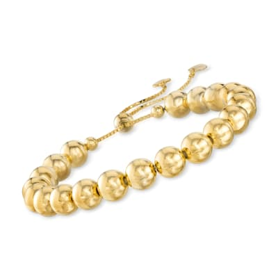 8mm Italian 18kt Gold Over Sterling Bead Bolo Bracelet