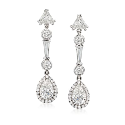 3.10 ct. t.w. Diamond Drop Earrings in 18kt White Gold