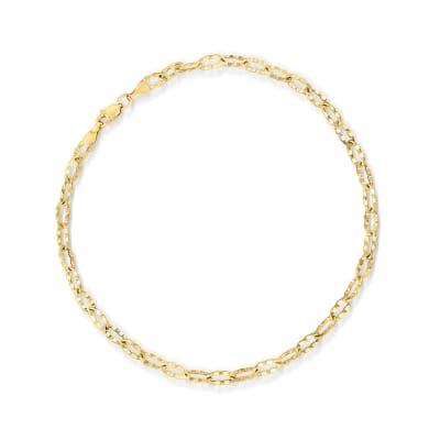 14kt Yellow Gold Crimped Link Anklet