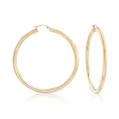 4mm 14kt Yellow Gold Extra Large Hoop Earrings