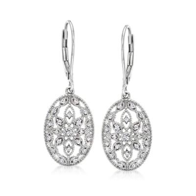 .10 ct. t.w. Diamond Floral Openwork Drop Earrings in Sterling Silver