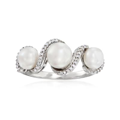 5-6mm Cultured Pearl and .10 ct. t.w. Diamond Ring in Sterling Silver