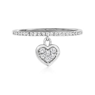 .20 ct. t.w. Diamond Heart Charm Ring in 14kt White Gold