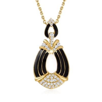 .25 ct. t.w. Diamond and Enamel Necklace in 18kt Gold Over Sterling