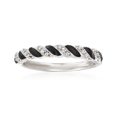 .10 ct. t.w. Diamond and Black Enamel Twisted Ring in Sterling Silver