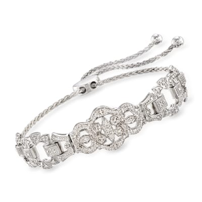.25 ct. t.w. Diamond Openwork Bolo Bracelet in Sterling Silver