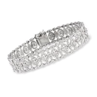 C. 1990 Vintage 3.60 ct. t.w. Diamond Fancy-Link Bracelet in 18kt White Gold