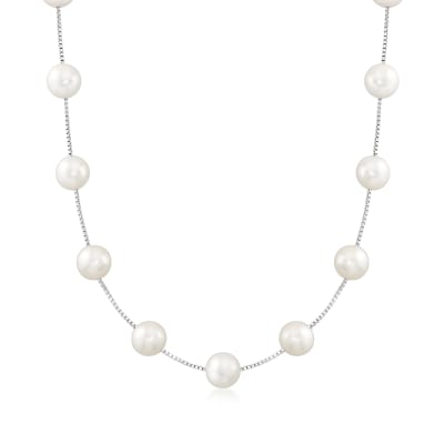 9-9.5mm Cultured Pearl Station Necklace in Sterling Silver