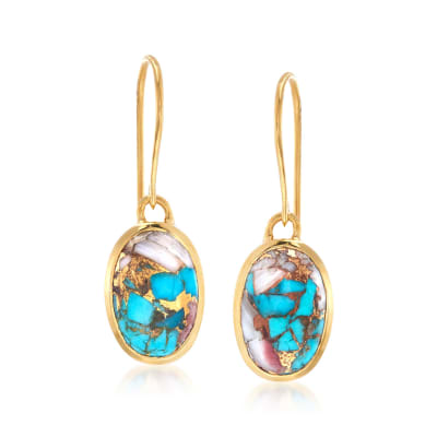 Oval Kingman Turquoise Drop Earrings in 18kt Gold Over Sterling