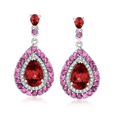 4.86 ct. t.w. Multi-Gemstone Drop Earrings in Sterling Silver