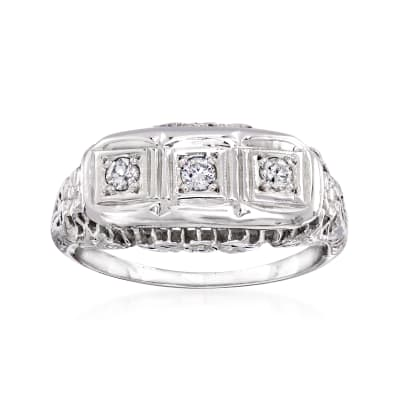 C. 1970 Vintage .15 ct. t.w. Diamond Three-Stone Ring in 14kt White Gold