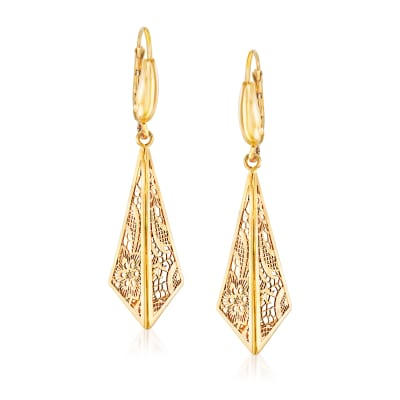 Italian 14kt Yellow Gold Filigree Triangle Drop Earrings