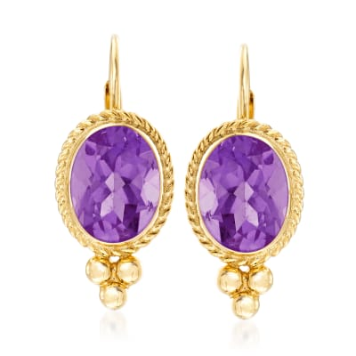 1.20 ct. t.w. Amethyst Rope Edge Earrings in 14kt Yellow Gold