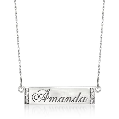 Diamond-Accented Name Bar Necklace in Sterling Silver
