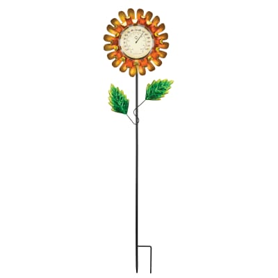 Regal Yellow Buttercup Thermometer Solar Garden Stake