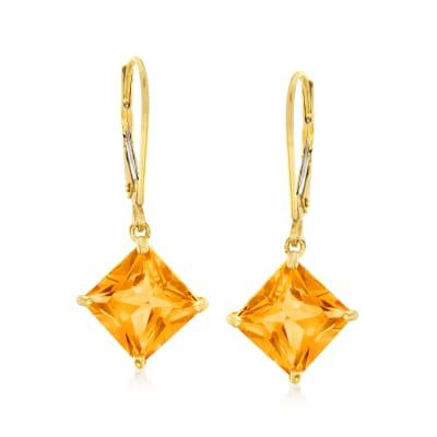 4.60 ct. t.w. Citrine Drop Earrings in 14kt Yellow Gold