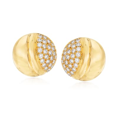 C. 1990 Vintage 2.00 ct. t.w. Diamond Button Earrings in 18kt Yellow Gold