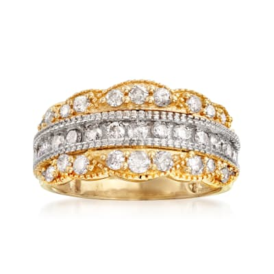 1.00 ct. t.w. Diamond Scalloped Ring in 14kt Two-Tone Gold
