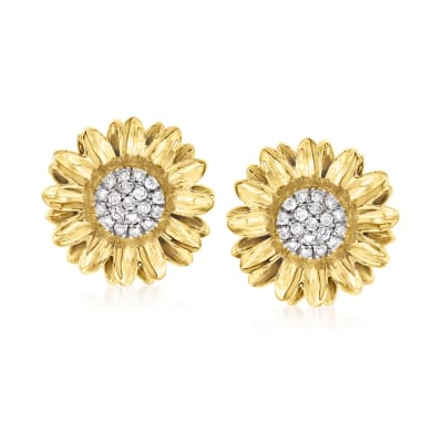 .50 ct. t.w. Diamond Sunflower Earrings in 18kt Gold Over Sterling