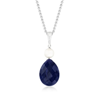 6-6.5mm Cultured Pearl and 10.00 Carat Pear-Shaped Sapphire Pendant Necklace in Sterling Silver