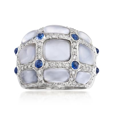 C. 1980 Vintage Chalcedony, .60 ct. t.w. Diamond and .40 ct. t.w. Sapphire Ring in 18kt White Gold