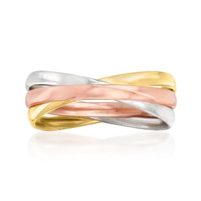 Italian 14kt Tri-Colored Gold Crisscross Ring