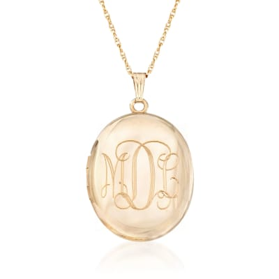 14kt Gold Over Sterling Monogram Locket Necklace
