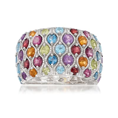 3.00 ct. t.w. Multi-Gemstone Ring in Sterling Silver