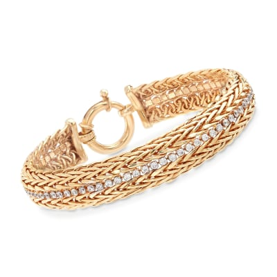 1.40 ct. t.w. CZ Two-Row Wheat Chain Bracelet in 18kt Gold Over Sterling