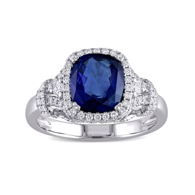 2.50 Carat Sapphire Ring with .52 ct. t.w. Diamonds in 14kt White Gold