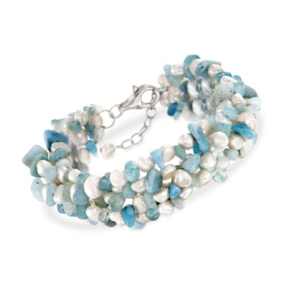 Aquamarine Bead and 5-6mm Cultured Pearl Bracelet with Sterling Silver