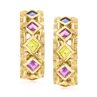 C. 1980 Vintage 1.92 ct. t.w. Multi-Gemstone J-Hoop Earrings in 14kt Yellow Gold