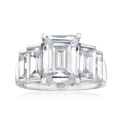 5.62 ct. t.w. Emerald-Cut CZ Ring in Sterling Silver