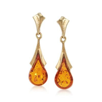 Amber Teardrop Earrings in 14kt Yellow Gold