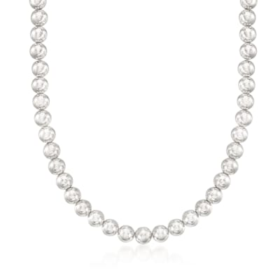 Italian 8mm Sterling Silver Bead Necklace